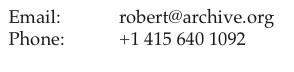 robert miller - robert@archive.org