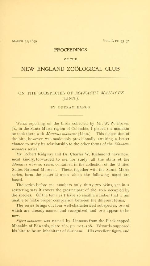 On the Subpecies of Manacus manacus (Linn.)