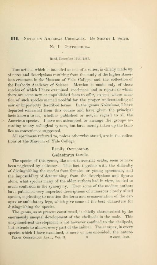 Notes on the American Crustacea, No. I, Ocypodoidea