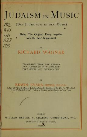 Richard wagner judaism in music and other essays professional resume writing services canada