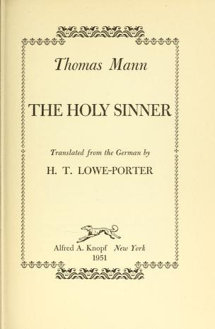 Cover of: The Holy Sinner   Thomas Mann