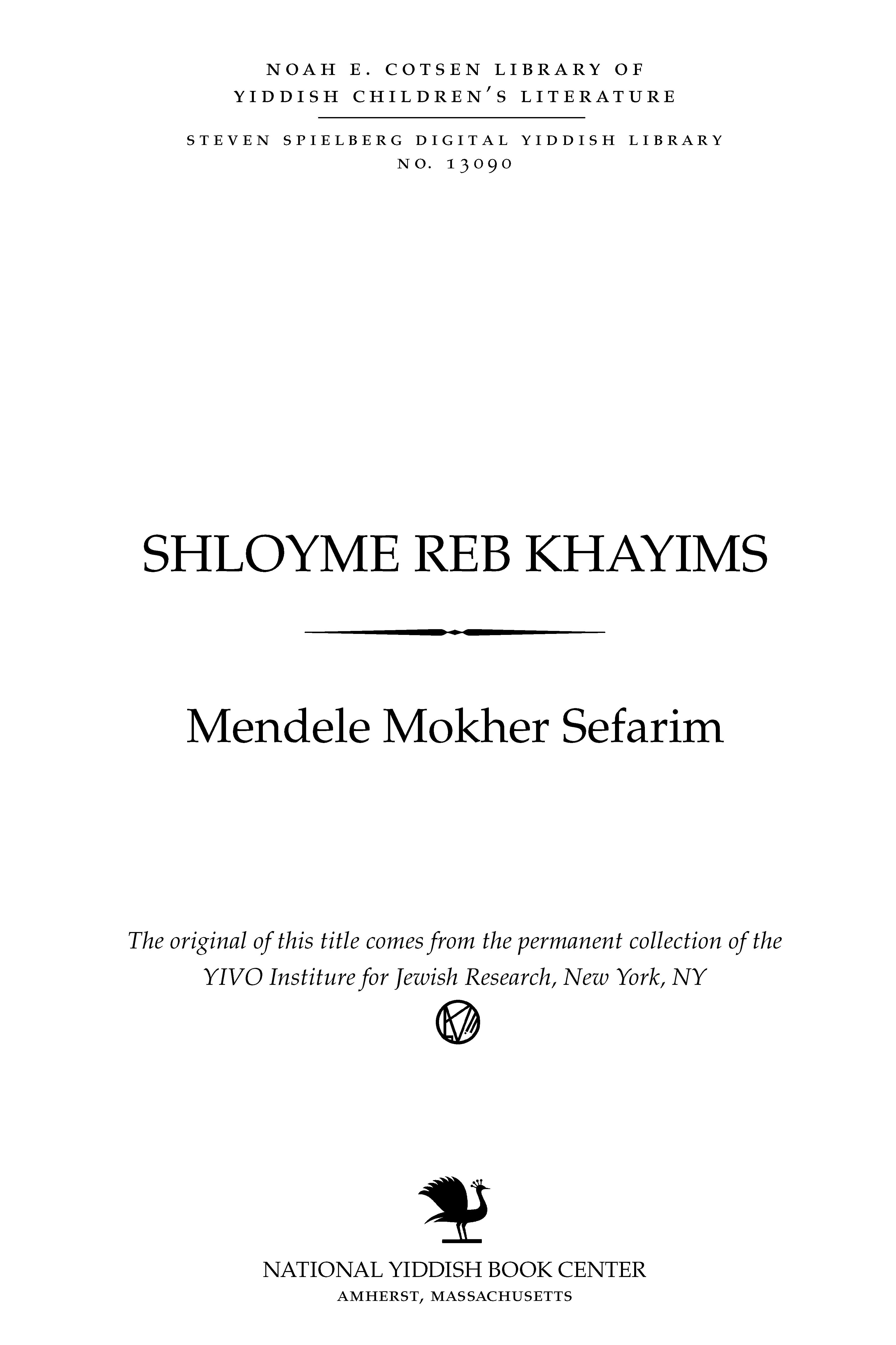 Cover of: Shloyme Reb Khayims: Shelomoh R' Ḥayims