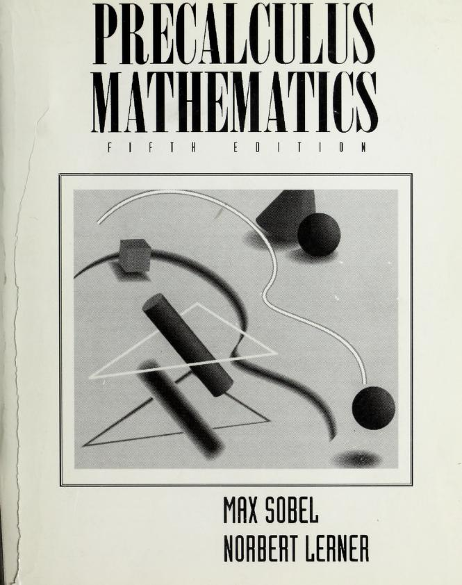 Precalculus mathematics by Max A. Sobel